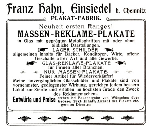Werbung Wattefabrik Franz Hahn 1905