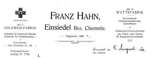 Briefkopf der Fabrik Hahn 1920