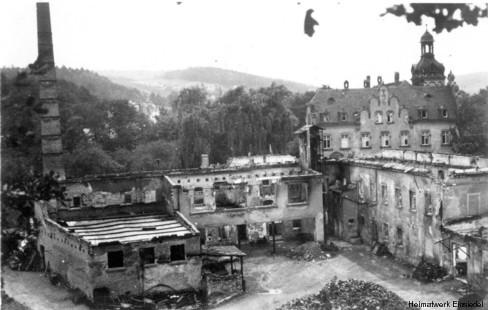 Ruine der Hahnfabrik nach 1945