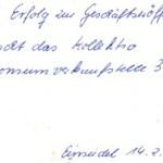Glückwunschschreiben zur Geschäftseröffnung 1989