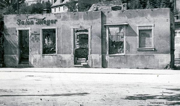 Ruine des Gebäudes Hauptstraße 70 in Einsiedel 1945
