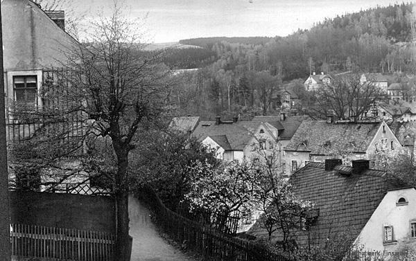 Blick von der Kirchgasse in Einsiedel 1927 zur Fleischerei Lohmann