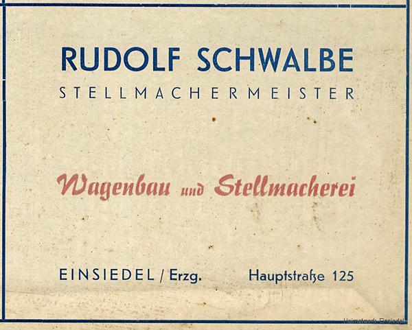 Werbenannonce Stellmacherei Rudolf Schwalbe, Einsiedel 1956