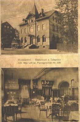 Postkarte Restaurant zur Talsperre, Ansichten außen und innen