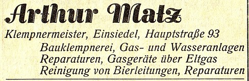 Reklameanzeige Klempnerei Arthur Matz, Einsiedel 1935