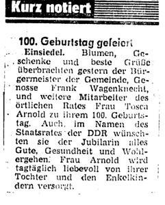 100ster Geburtstag Toska Arnold, Artikel in der Lokalpresse