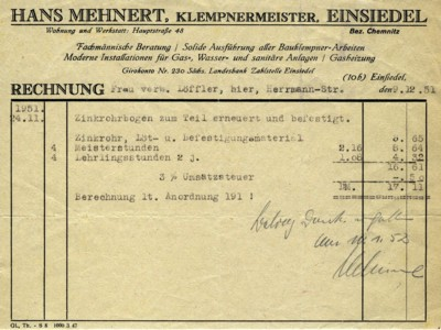 Rechnung der Klempnerei Mehnert in Einsiedel 1951