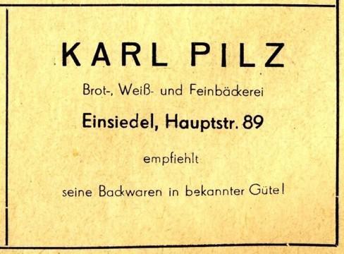 Bäckerei Karl Pilz Werbeanzeige 1955
