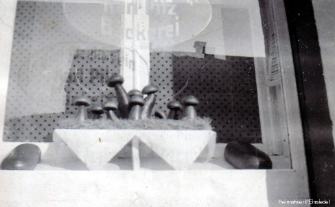 Bäckerei Pilz Schaufenstergestaltung Pilze aus Brotteig