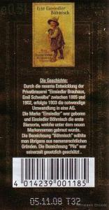 Echt Einsiedler Böhmisch (Edikett der Flaschenrückseite)