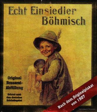 """Echt Einsiedler Böhmisch, Originaledikett der Privatbrauerei """"Einsiedler Brauhaus"""" von 2008"""