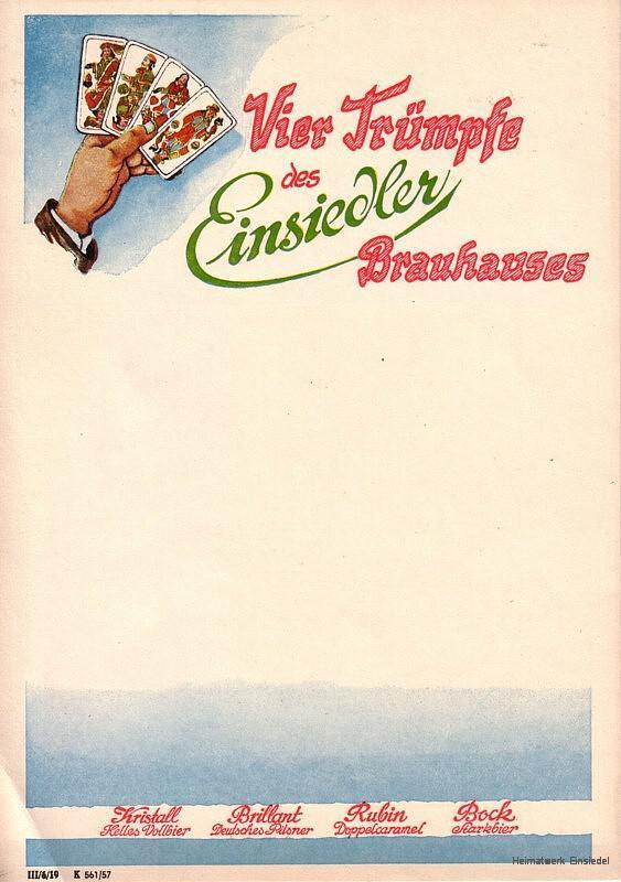 Reklame des Einsiedler Brauhauses (zum Zeitpunkt noch nicht volkseigen) aus den 1950er Jahren