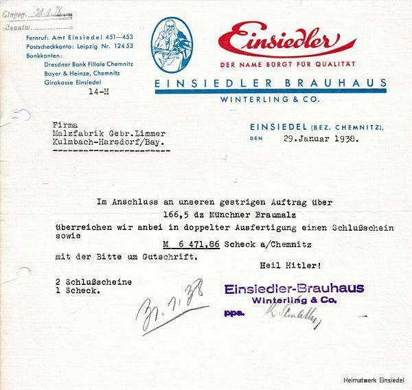 Malzbestellung beim Einsiedler Brauhaus Winterling & Co. 1938