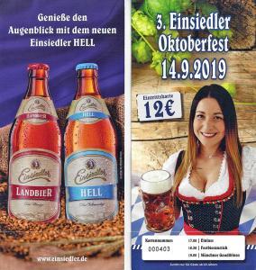 Eintrittskarte für das 3. Einsiedler Brauereifest 2019