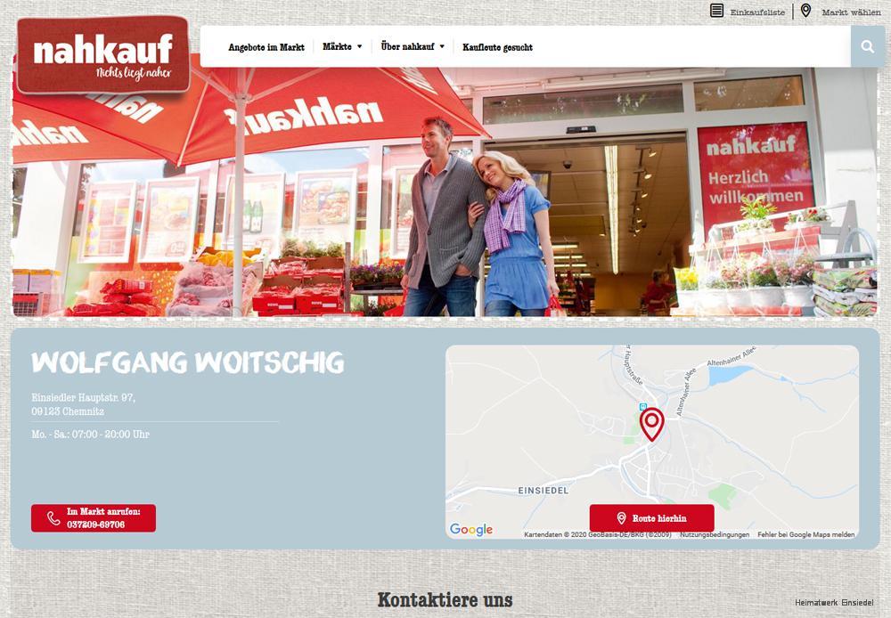 Screenshot Website nahkauf Woitschig, Einsiedel