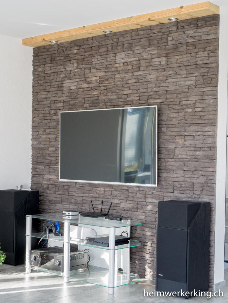 TVWand mit Steinverblender ohne sichtbare Kabel bauen