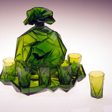 Ruba Rombic decanter set, made by Consolidated Lamp & Glass Co., Coraopolis, Pa., c. 1930