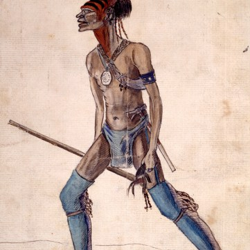 An Indian War chief completely equipped with a scalp in his hand, c. 1751