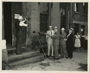 ALT:Mayor David Lawrence at a ceremony commencing the demolition of parts of the Lower Hill District, May 31, 1956. Photograph by John R. Shrader. Allegheny Conference on Community Development Photographs, 1892-1981, MSP 285, Senator John Heinz History Center.