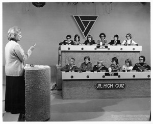 ALT:Junior High Quiz show, which aired on WTAE every Sunday beginning in 1962. Two teams of eighth grad students from the Greater Pittsburgh Area answered questions in Literature, Math, Science, and History. The moderator was Ricki Wertz. Pittsburgh Public School Photographs, MSP 117, Detre Library & Archives, Heinz History Center