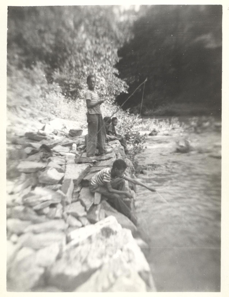 Children fishing at Camp Johnson, c. 1950. Camp Johnson Photographs, 1939-1995, MSP 229, Detre Library & Archives at the Heinz History Center.