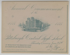 ALT:Pittsburgh High School commencement ticket, 1888. Pittsburgh Public School Records, MSP 117, Detre Library & Archives, Heinz History Center