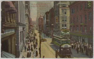 ALT:Fifth Avenue from Wood Street looking east. General Postcard Collection, GPCC, Detre Library & Archives, Senator John Heinz History Center.