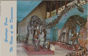 "ALT:Souvenir postcard from the Carnegie Museum of Natural History, Pittsburgh, ""Greetings from the Home of the Dinosaurs."" General Postcard Collection, GPCC, Detre Library & Archives, Senator John Heinz History Center."