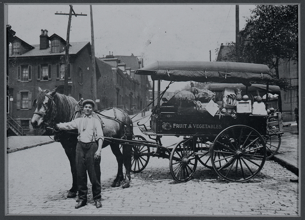 Frank Crisanti and his huckster wagon, c. 1920. Crisanti Family Photographs, 1995.0360, Italian American Collection, Heinz History Center.