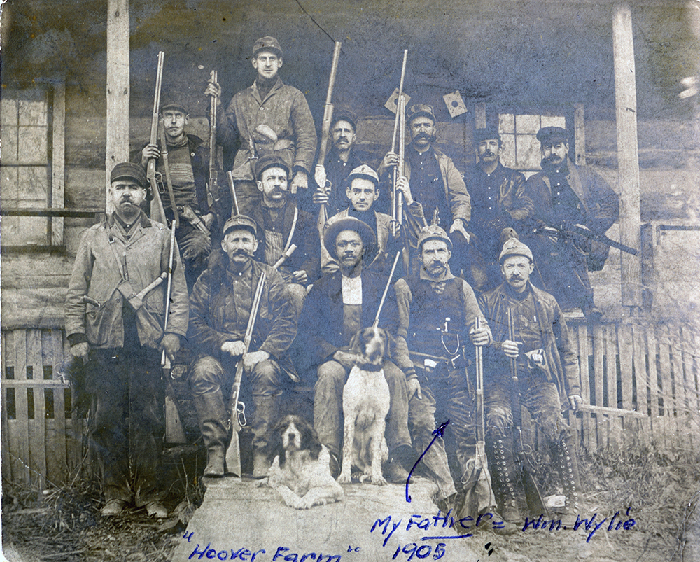 William Wylie and fellow hunters pose at Hoover Farm in Elk County, 1905. Margaret Pearson Bothwell Collection, MFF 2275, Detre Library & Archives, Heinz History Center.