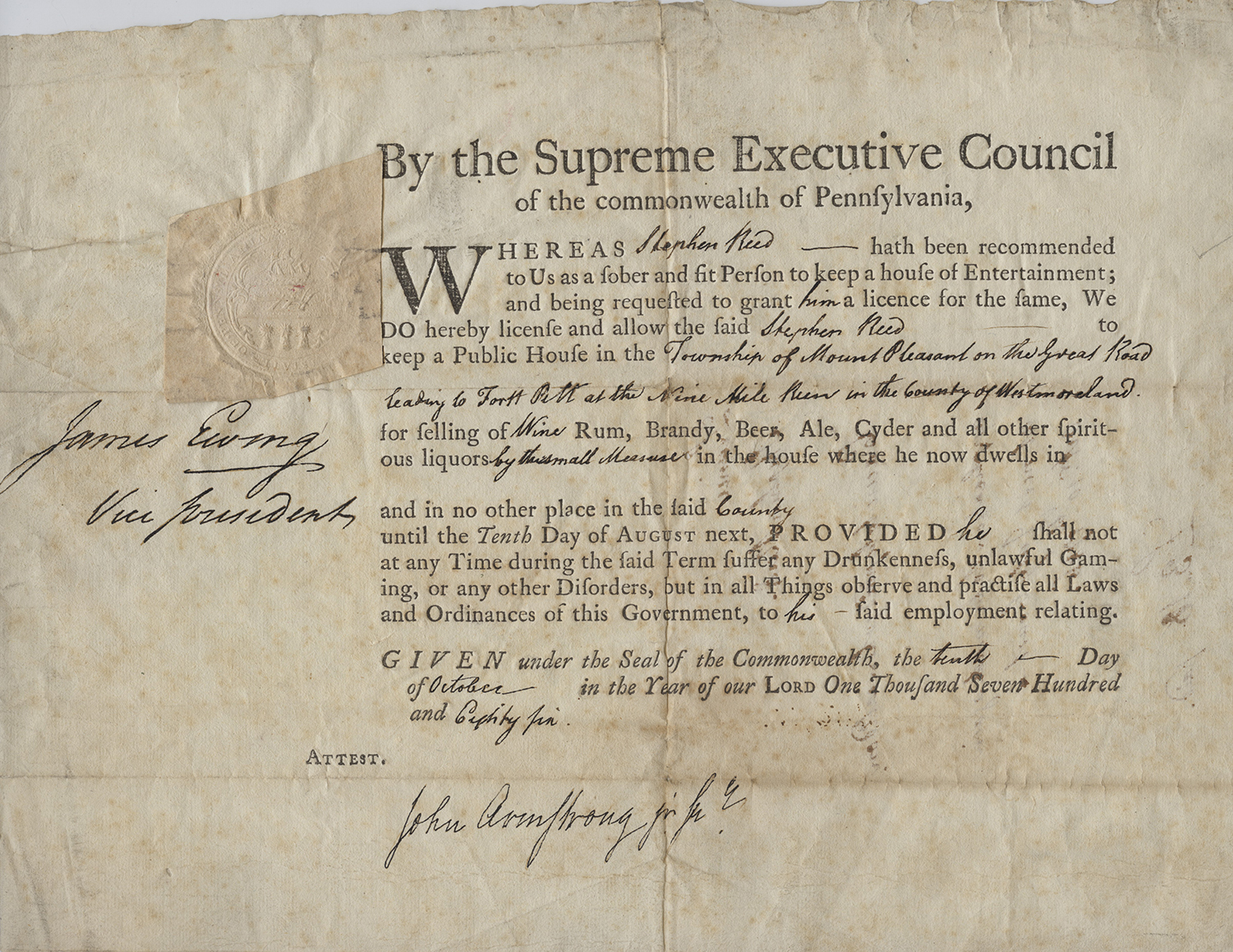 License allowing Stephen Reed to operate a public house and sell liquor, 1786. MFF 2741, Detre Library & Archives, Heinz History Center.
