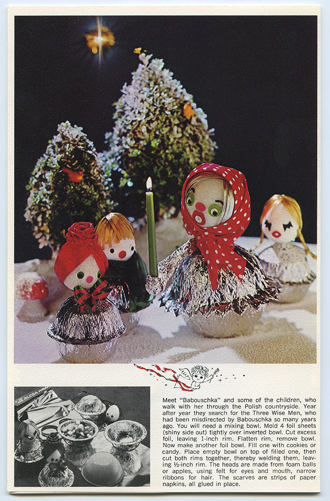 """Page from a """"Holiday decoration with Alcoa Wrap"""" booklet describing how to make decorative cookie bowls, c. 1965. Alcoa Company Records, MSS 282, Detre Library & Archives at the History Center."""