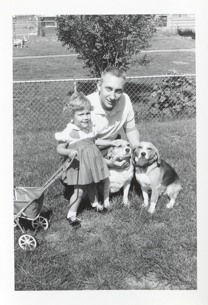 """The Taylor family featured """"Cindy"""" the beagle (on the far right) in many family photographs, 1950s. Taylor Family Collection, Detre Library & Archives at the History Center."""