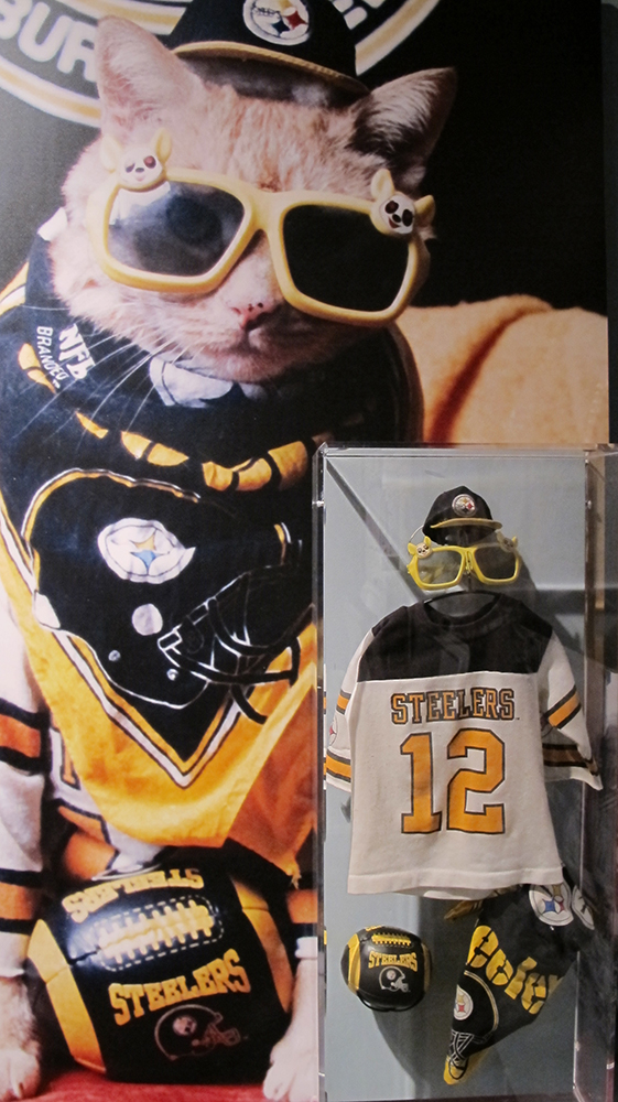 Pudgie Wudgie's Steeler fan outfit on display in the Western Pennsylvania Sports Museum, 2017. Gift of Frank Furko.