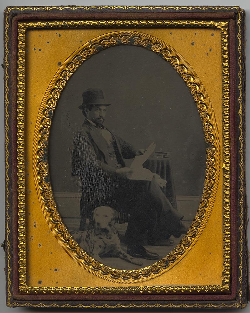 Bishop Benjamin Tucker Tanner and his Dalmatian, 1860s. Heinz History Center.