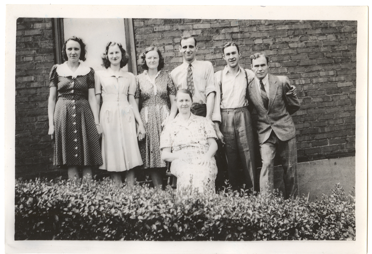 Mary with her six children (left to right) Marie, Vera, Amelia, Joseph, Julius, and George, 1940s. From the Rajcan family collection, Detre Library & Archives at the History Center.
