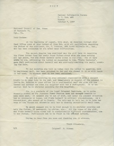 Letter from Central Information Bureau to the National Council of Jewish Women, 1936. Marcia Robbins papers, Detre Library & Archives at the History Center.