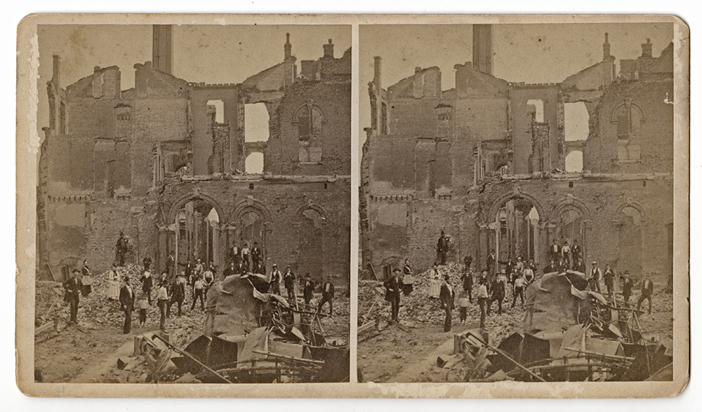 """S. V. Albee, """"No. 35. Rear of Union Depot, with ruins of Gen'l Sup't. Gardiner's Palace Car in the foreground,"""" 1877. 