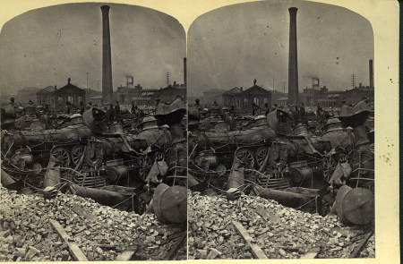 """J. R. Riddle, """"Ruins in Round-house, Pittsburgh, Pa after Riot, 1877."""" 