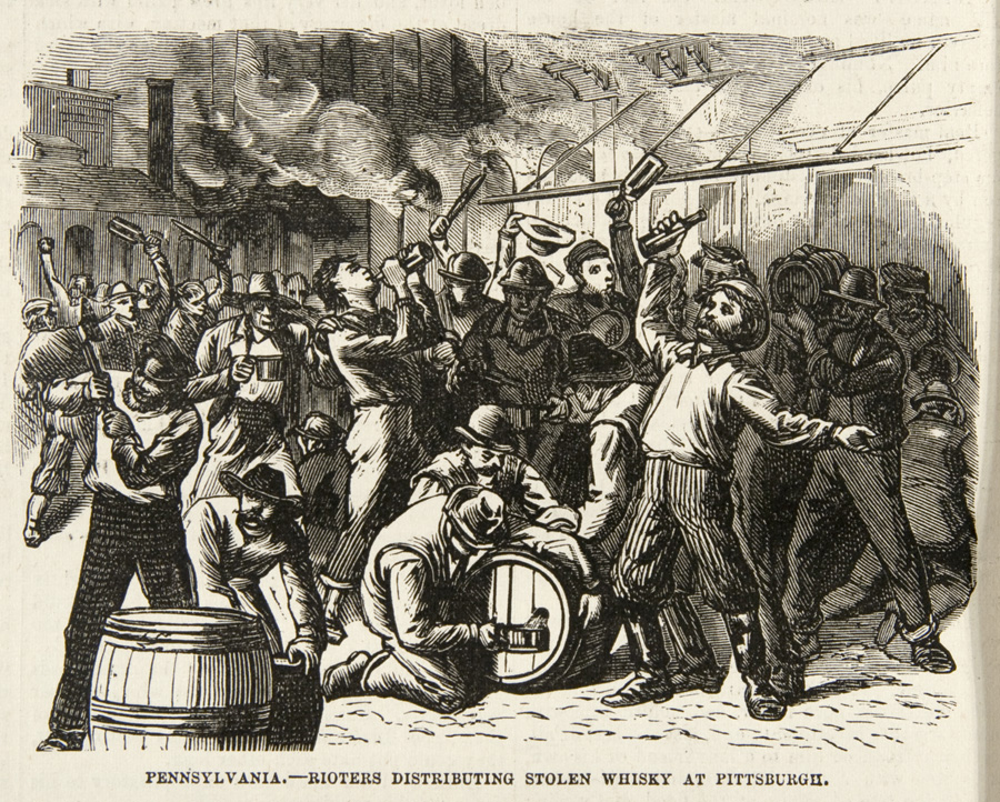 """""""Rioters distributing stolen whiskey at Pittsburgh,"""" Frank Leslie's Illustrated Newspaper, August 4, 1877. 
