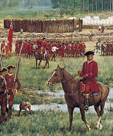 """Washington at Fort Necessity. July 1754. Detail of """"Charming Field for an Encounter,"""" Griffing."""
