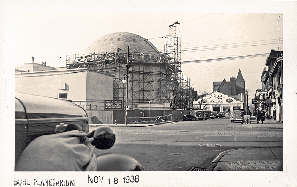 Looking across Federal Street in 1938 to the dome of Buhl Planetarium