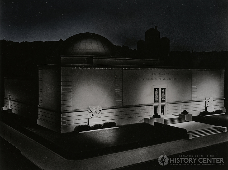 Buhl Planetarium at night.