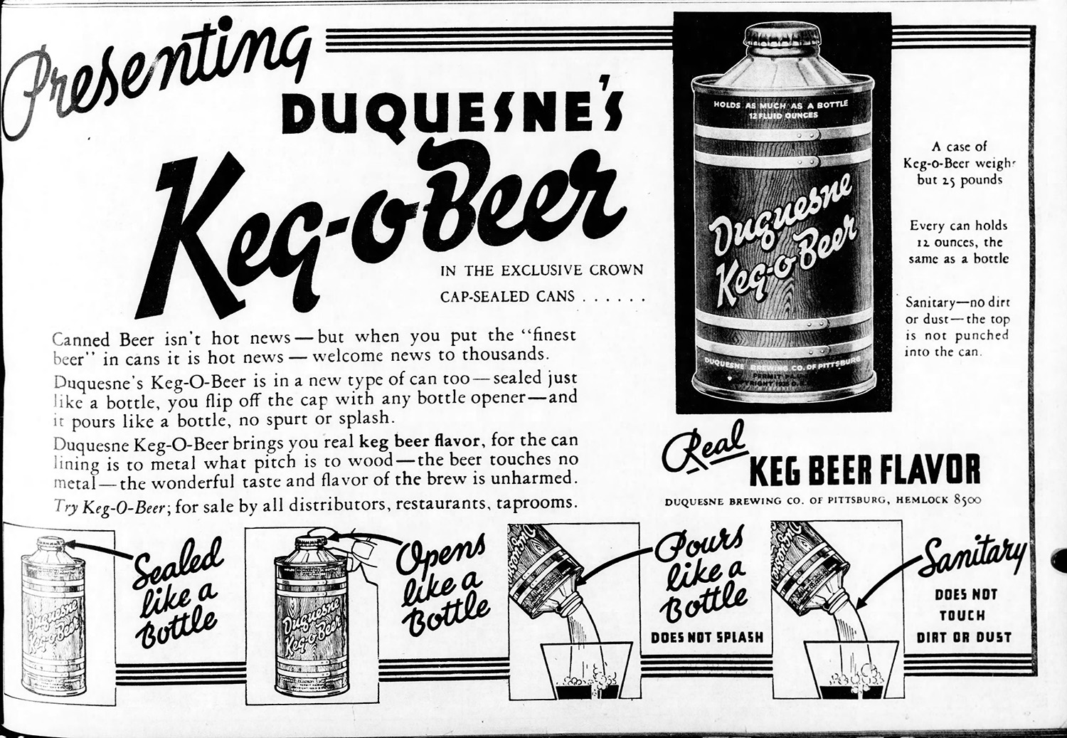 """Advertisement for Duquesne Brewing Company's """"Keg-O-Beer,"""" 1935. The Pittsburgh Press, December 2, 1935."""