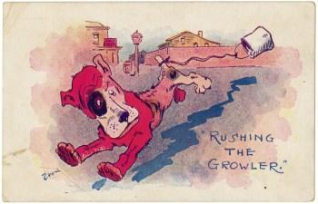 """Rushing the Growler"" postcard, c. 1910.   Heinz History Center"