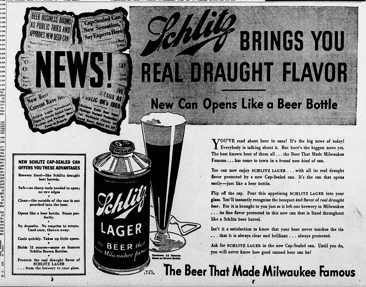 Schlitz Beer Company advertisement announcing a new kind of can in Pennsylvania, 1935. Credit: Harrisburg Telegraph, November 13, 1935.