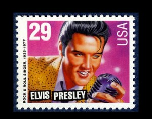 Elvis postage stamps are released by the U.S. Postal Service, January 8, 1993. Courtesy of the Smithsonian National Postal Museum.