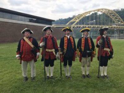 Costumed 18th century reenactors at the Fort Pitt Museum.