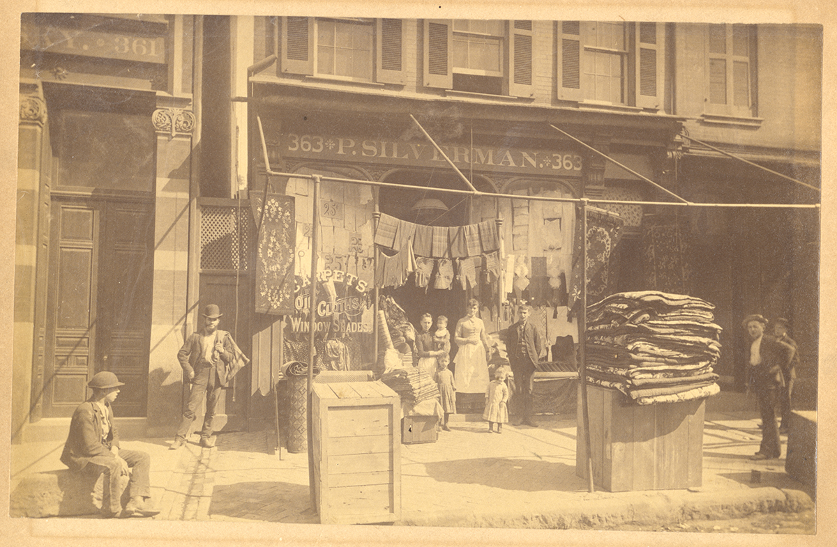 Philip Silverman dry goods store on Fifth Avenue, Pittsburgh, 1880s.