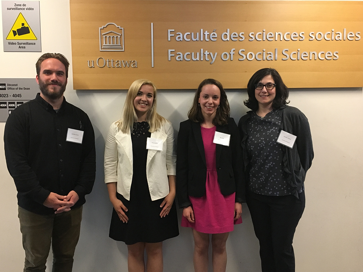 Zachary Enick, Eliza Jermyn, and Rita Keil with their professor, Dr. Lina Insana, at the University of Ottawa for the 2018 Canadian Conference of Italian Studies conference. They were the only undergraduates to present in the session on digital Humanities projects. Photo courtesy of Melissa E. Marinaro.